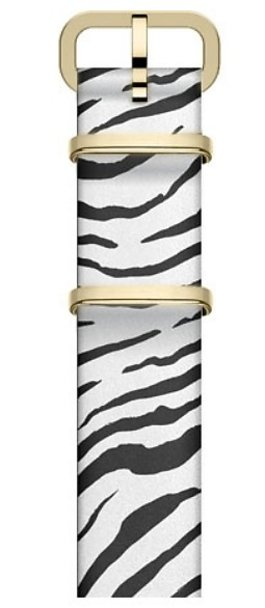 16mm Leather Slip Thru Single Layer Strap With Animal Prints White large