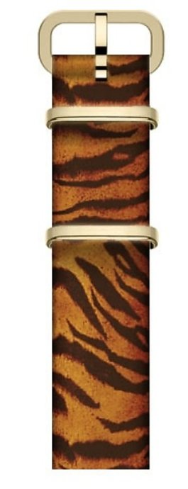 16mm Leather Slip Thru Single Layer Strap With Animal Prints Brown large