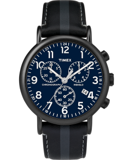 Weekender Chronograph 40mm Leather Strap Watch with Stripe Black/Blue large
