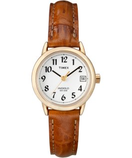 Easy Reader 25mm with Date Leather Watch Gold-Tone/Brown/White large