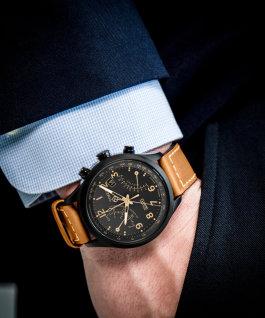 Intelligent Quartz chronographe remise à zéro 43mm, grande, bracelet en cuir noir/havane