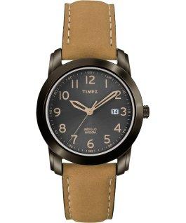 Highland Street 39mm Leather Watch Black/Tan large
