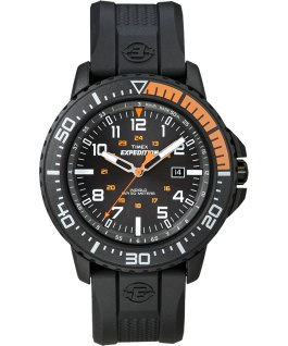Expedition Uplander 44 mm grande, bracelet en résine noir/orange
