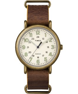 Weekender 40mm Leather Watch Gold-Tone/Brown/Cream large