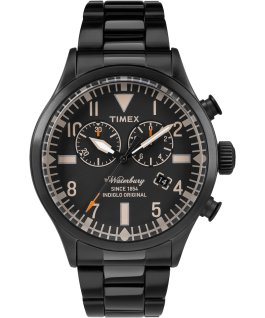 Waterbury Traditional Chronograph 42mm Stainless Steel Watch Black large