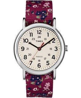 Weekender Patterns 38mm Nylon Strap Watch Chrome/Red/Cream large