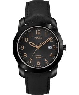Easy Reader 39mm Leather Watch with Date Black large