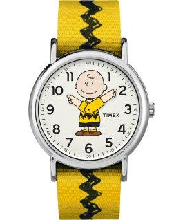 Charlie Brown 38mm grande, bracelet en nylon ton argent/jaune/blanc