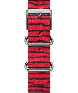 Linus 38mm, bracelet en nylon ton argent/rouge/blanc