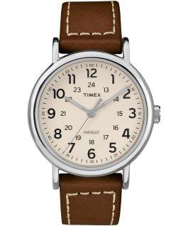Weekender 40mm, bracelet en cuir 2pièces ton argent/brun/crème