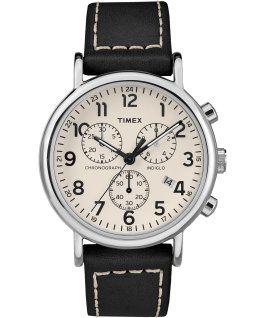 Weekender Chrono 2 Piece 40mm Leather Watch Silver-Tone/Black/Cream large