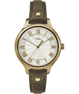 Peyton 36mm Leather Watch with Grommet Gold-Tone/Tan/White large