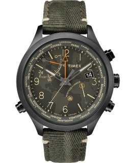 Waterbury World Time 43mm Fabric Strap Watch Stainless-Steel/Black/Green large