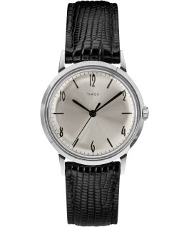 Reloj Marlin de 34 mm de cuerda manual con correa de cuero Black/Silver-Tone large
