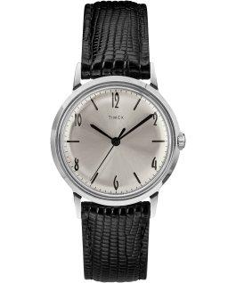 Zegarek Marlin z kopertą 34 mm i skórzanym paskiem, ręcznie nakręcany Black/Silver-Tone large