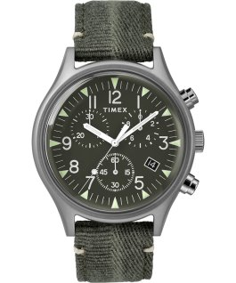 MK1 Chronographe acier 42mm, grande, bracelet en tissu acier inoxydable/vert