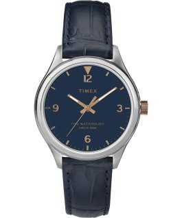 Waterbury Womens 34mm Leather Watch Stainless-Steel/Blue large