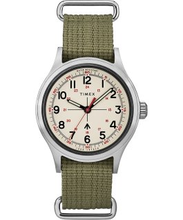 Timex x Todd Snyder Military Inspired 40mm Fabric Strap Watch Silver-Tone/Green/White large