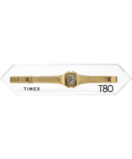 Montre Timex T80 34 mm Bracelet extensible en acier inoxydable Or rose large