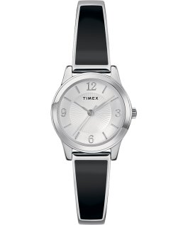 Fashion Stretch Bangle 25mm Bracelet Silver-Tone/Black large