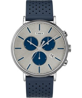 Fairfield Supernova 41mm Leather Strap Watch Silver-Tone/Blue large