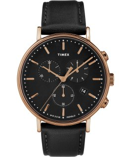 Fairfield Chronograph 41mm Leather Strap Watch Rose-Gold-Tone/Black large