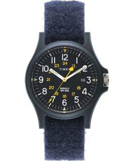 Reloj Acadia de 40mm con correa de tela con cierre de velcro Azul large