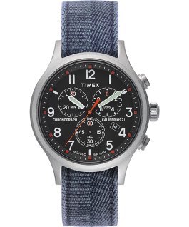 Allied Chronograph 42mm Stonewashed Fabric Strap Watch Silver-Tone/Blue/Black large