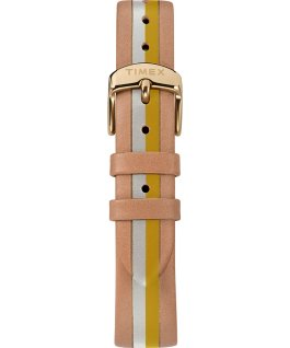 Waterbury Traditional 34 mm da donna con cinturino in pelle rigato Dorato/Cuoio/Giallo large