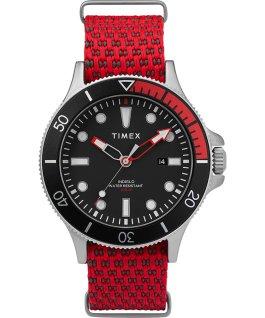 Zegarek Allied Coastline z kopertą 43 mm, obrotowym pierścieniem i materiałowym paskiem Srebrny/Czerwony/Czarny large