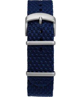 Zegarek Allied Coastline z kopertą 43 mm, obrotowym pierścieniem i materiałowym paskiem Srebrny/Niebieski large