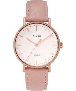 Reloj Fairfield de 37mm con correa de cuero Tono oro rosa/Rosa/Crema large