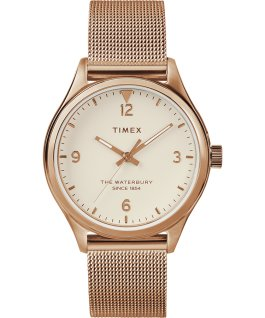 Waterbury Traditional 34 mm da donna con bracciale in maglia mesh Oro rosa/Crema large