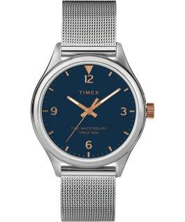 Damski zegarek Waterbury Traditional 34 mm z siatkową bransoletą Stal nierdzewna/Srebrny/Niebieski large