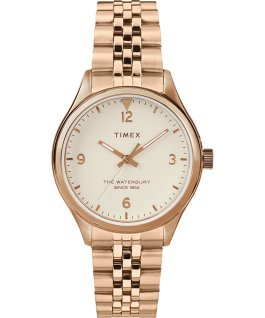 Reloj de acero inoxidable Waterbury Classic de 34 mm Dorado rosa/Crema large
