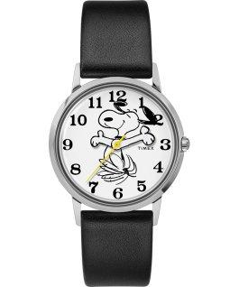 Zegarek Timex X Peanuts wyłącznie dla Todda Snydera przedstawiający Snoopy'ego z 34 mm kopertą i skórzanym paskiem Stal nierdzewna/Czarny/Biały large