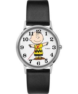 Orologio Timex x Peanuts in esclusiva per Todd Snyder Charlie Brown da 34mm con cinturino in pelle Acciaio/Nero/Grigio large
