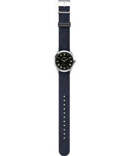 Zegarek Whitney Avenue z kopertą 38 mm i paskiem materiałowym Stal nierdzewna/Czarny large
