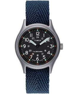 Zegarek MK1 z kopertą 40 mm i paskiem materiałowym Niebieski large