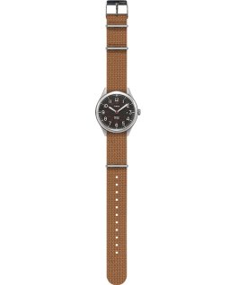 Waterbury United 38mm Fabric Strap Watch Stainless-Steel/Cream large