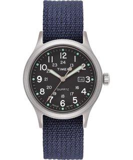 Zegarek Allied z kopertą 40 mm i indeksami w kształcie kropek Srebrny/Niebieski/Zielony large