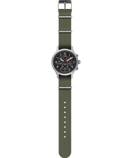 Archive Allied Chronograph 42mm Fabric Strap Watch Silver-Tone/Green/Black large