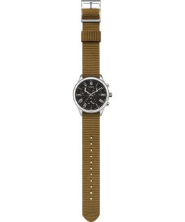 Weston Avenue 38mm Fabric Strap Watch Stainless-Steel/Green/Black large