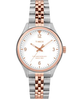 Reloj de acero inoxidable Waterbury Classic de 34 mm Dos tonos/Crema large
