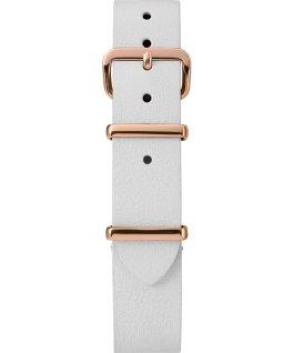 Jednowarstwowy skórzany pasek przewlekany 16 mm w kolorze różowego złota Biały large