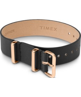 16mm Leather Single Layer Slip Thru Strap with Rose Gold Tone Black large