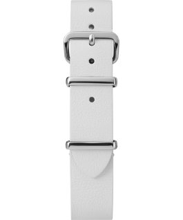 Cinturino slip-thru in pelle strato singolo da 16mm silver Bianco large