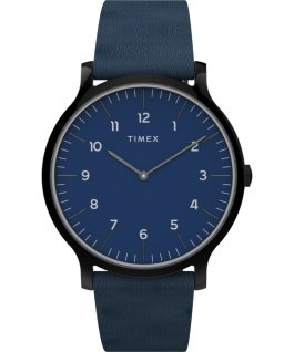 Montre Norway 40 mm Bracelet en cuir Noir/Bleu large