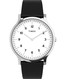 Montre Norway 40 mm Bracelet en cuir Argenté/Noir/Blanc large