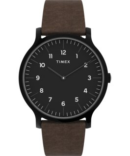 Montre Norway 40 mm Bracelet en cuir Noir/Marron large